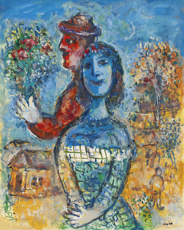 Marc Chagall, 'Premier bouquet des amoureux ', 1972, Painting, Oil , tempera and charcoal drawing on masonite, Opera Gallery