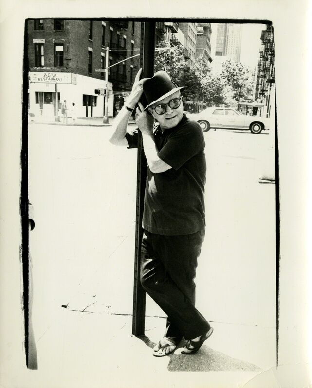 Andy Warhol, 'Andy Warhol, Photograph of Truman Capote Leaning on a Street Lamp, 1980', 1980, Photography, Silver Gelatin Print, Hedges Projects