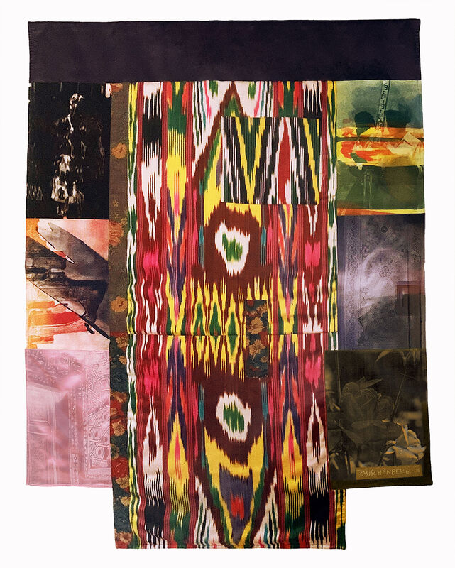 Robert Rauschenberg, 'Samarkand Stitches III', 1988, Print, Unique fabric assemblage with screen printing, Charles Nodrum Gallery