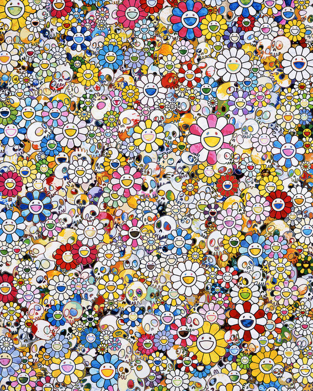 Takashi Murakami, 'Skulls & Flowers Multicolor', 2020, Print, Offset print with silver, Pinto Gallery