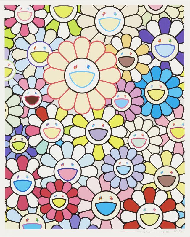 Takashi Murakami, 'Flowers of Hope', 2020, Print, Lithograph in colours on wove, Roseberys