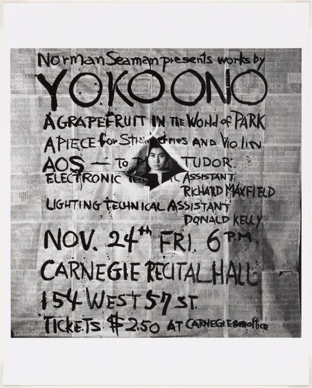 Yoko Ono, 'Works by Yoko Ono, poster, Carnegie Recital Hall, New York, November 24, 1961.', 1961, Ephemera or Merchandise, The Museum of Modern Art