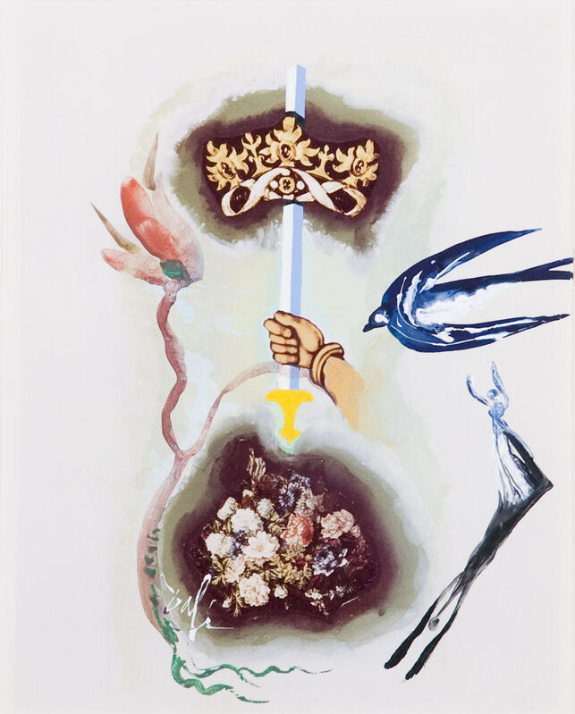 Salvador Dalí, 'Ace of Swords', Drawing, Collage or other Work on Paper, Gouache on paper, Opera Gallery Gallery Auction