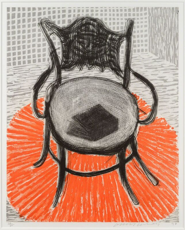 David Hockney, 'Chair with Book on Red Carpet', 1998, Print, Etching and aquatint, Leslie Sacks Gallery