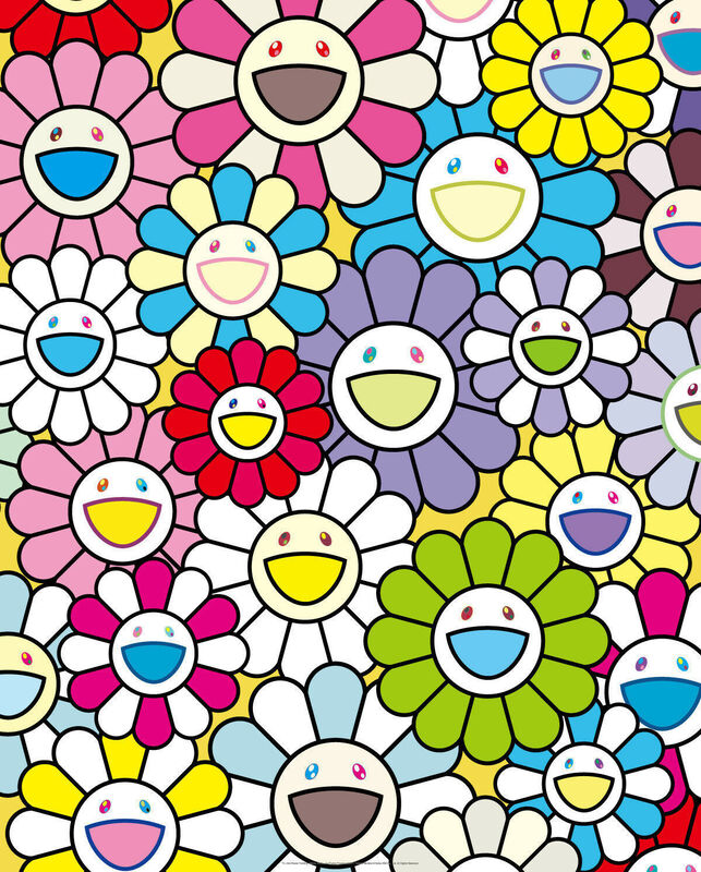 Takashi Murakami, 'Small Flower Painting with Yellow, White and Purple Flowers', 2017, Other, Offset lithopgraph on paper, New River Fine Art