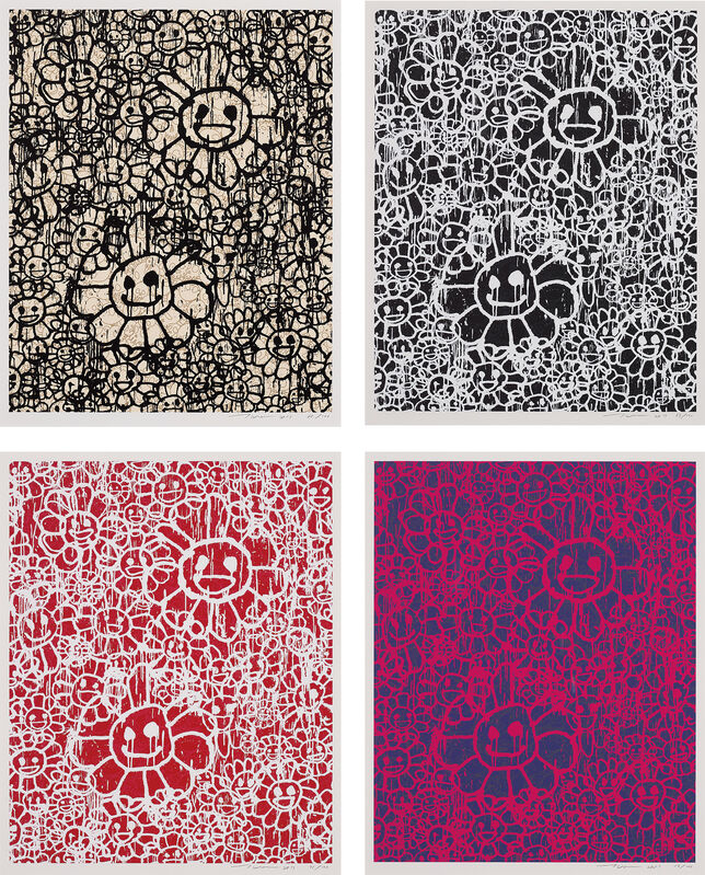 Takashi Murakami, 'MADSAKI Flowers A Beige; MADSAKI Flowers A Black; MADSAKI Flowers A Red; and MADSAKI Flowers A Pink', 2017, Print, Four screenprints in colours, on smooth wove paper, with full margins., Phillips