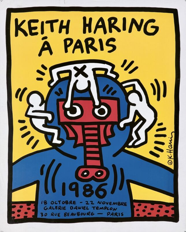 Keith Haring, 'Keith Haring á Paris poster ', 1986, Posters, Offset Lithograph, Lot 180