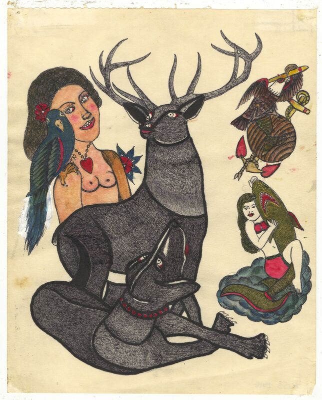 Rosie Camanga, 'Untitled (Stag Dog)', ca. 1950, Painting, Ink on paper, Ricco/Maresca Gallery