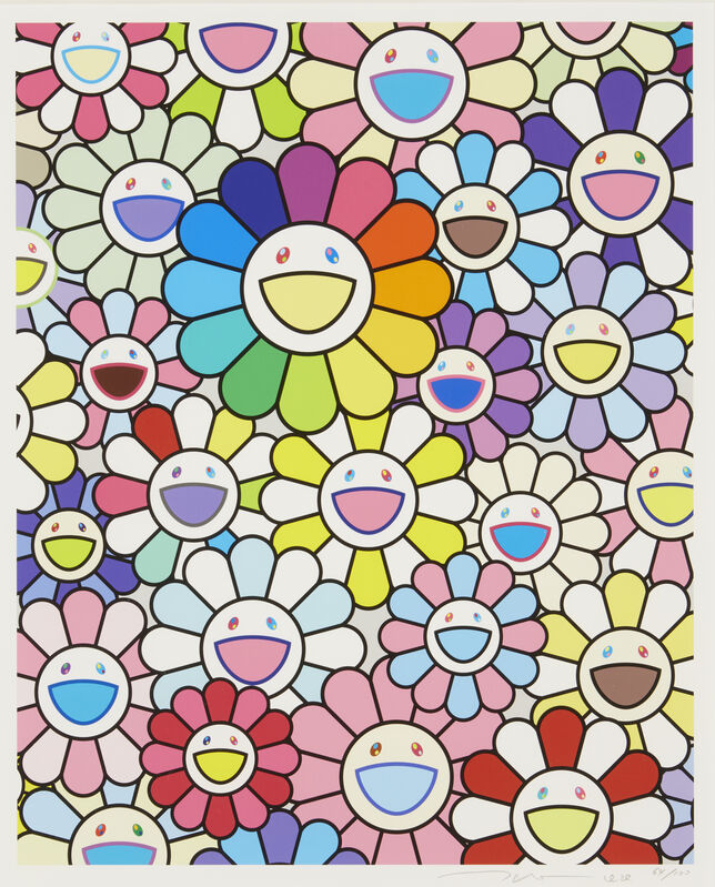 Takashi Murakami, 'Field of Flowers', 2020, Print, Lithograph in colours on wove, Roseberys