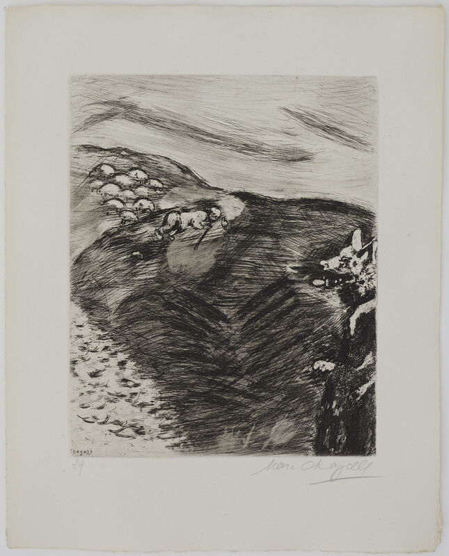 Marc Chagall, 'The Wolf turned Shepherd', 1927-1930, Print, Original etching, Galerie Fetzer