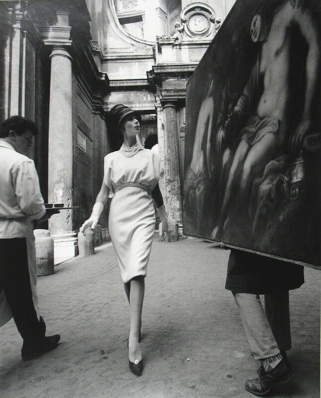 William Klein, 'Simone + Painting + Coffee, Rome (Vogue)', 1960, Photography, Platinum palladium print; printed later, Howard Greenberg Gallery