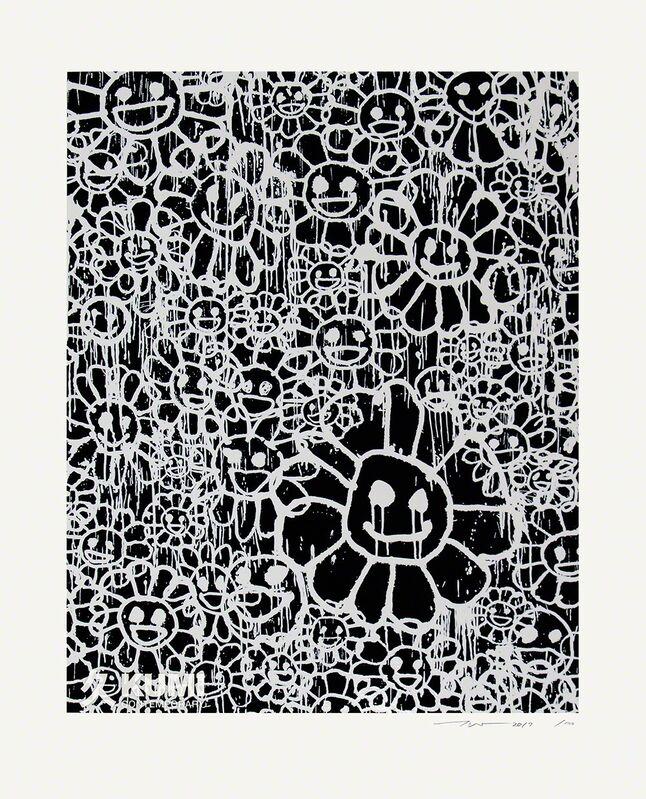 Takashi Murakami, 'Murakami x MADSAKI Flowers Black A', 2017, Painting, Silkscreen, Kumi Contemporary / Verso Contemporary