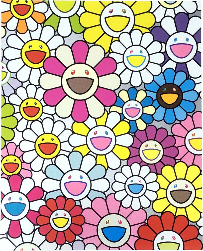 Takashi Murakami, 'SMALL FLOWERS PAINTING: PINK, PURPLE AND MANY OTHER COLORS - TAKASHI MURAKAMI', 2019, Print, Offset lithograph with cold stamp, Dope! Gallery