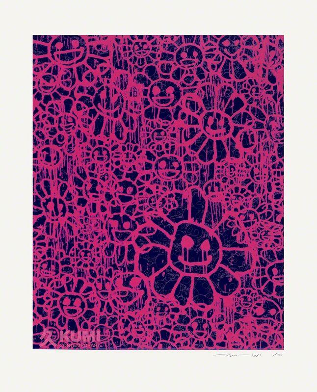 Takashi Murakami, 'Murakami x MADSAKI Flowers Pink Black B', 2017, Painting, Silkscreen, Kumi Contemporary / Verso Contemporary
