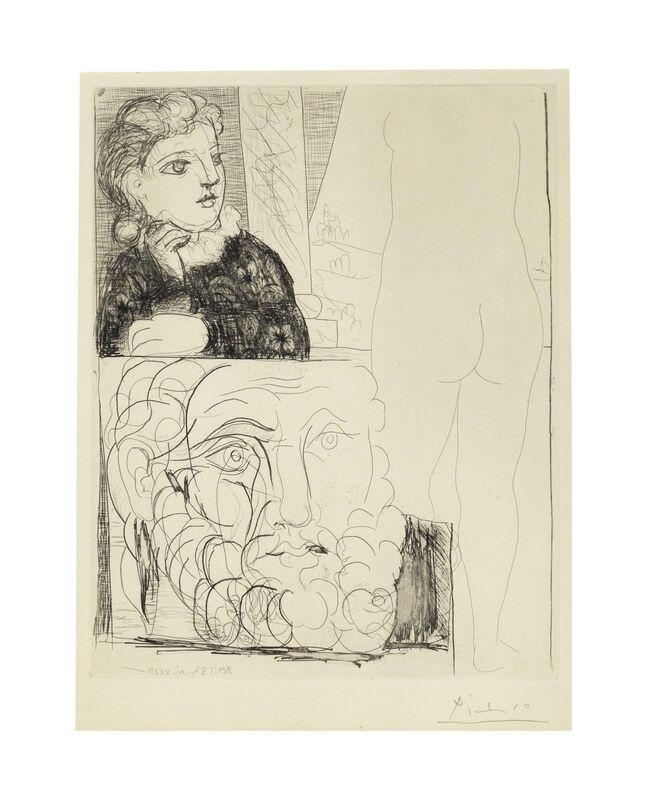 Pablo Picasso, 'Femme accoudée, sculpture de dos et tête barbue, from La Suite Vollard', 1933, Print, Etching on Montval laid paper watermark Vollard, Christie's