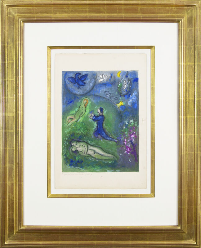 Marc Chagall, 'Daphnis and Chloé: Daphnis and Lycenion', 1961, Mixed Media, Mixed media work on Arches paper, hand-painted by the artist, Galerie Michael