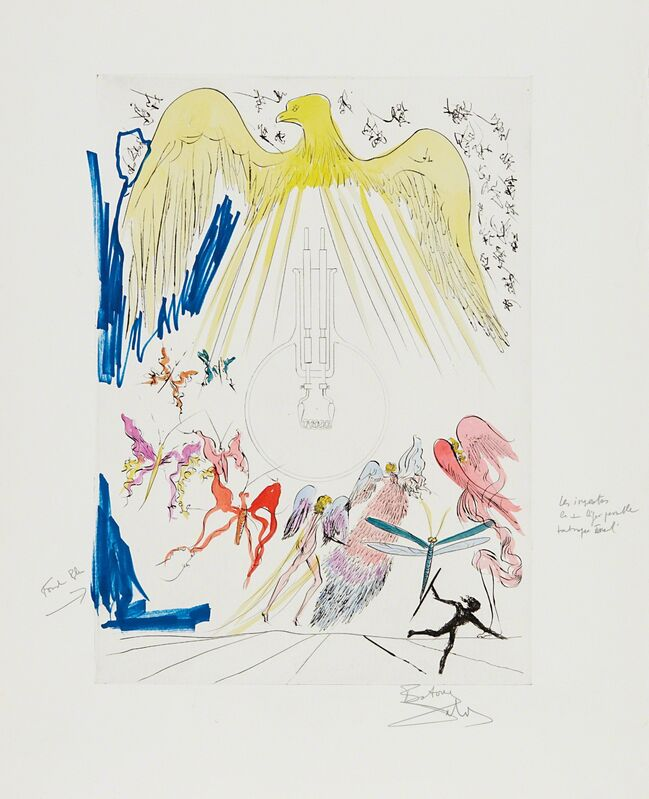 Salvador Dalí, 'L'Ampoule à incandescence (The Electric Lightbulb), for Hommage à Leonardo da Vinci (American Inventions)', 1975, Print, Drypoint with extensive hand-coloring in watercolor and ink, on Rives BFK paper, with full margins, Phillips