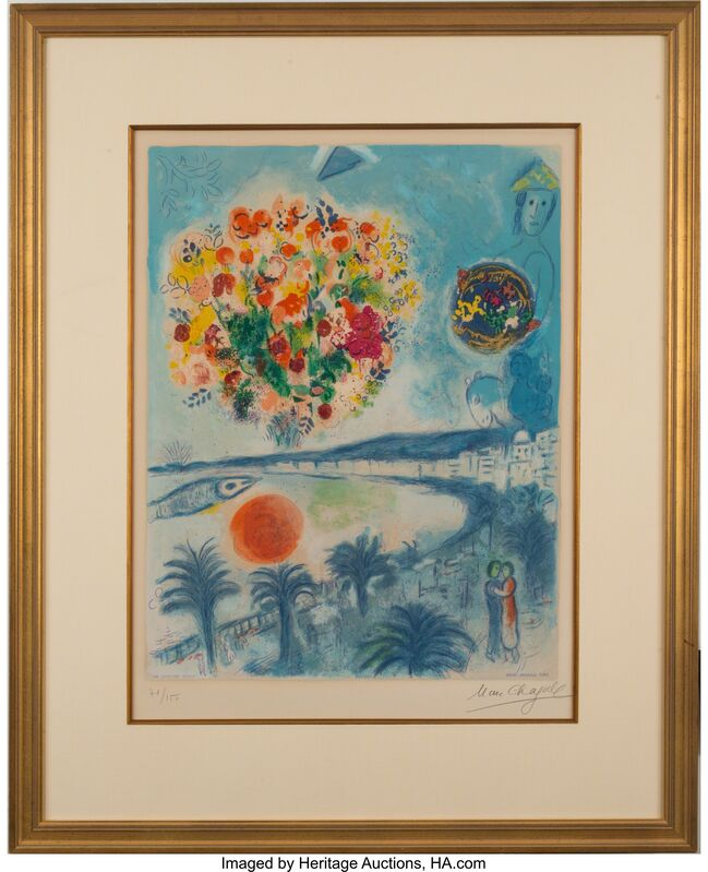 Marc Chagall, 'Sunset, from Nice and the Côte D'Azur', 1967, Print, Lithograph in colors on Arches paper, Heritage Auctions