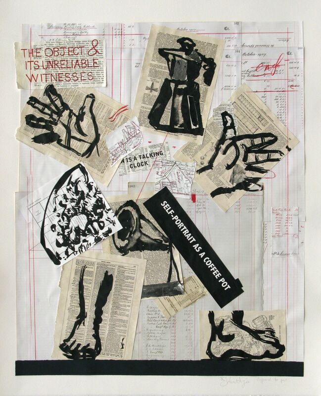 William Kentridge, 'SELF-PORTRAIT AS A COFFEE POT', 2012, Print, Multiple color lithograph and collage, Greg Kucera Gallery