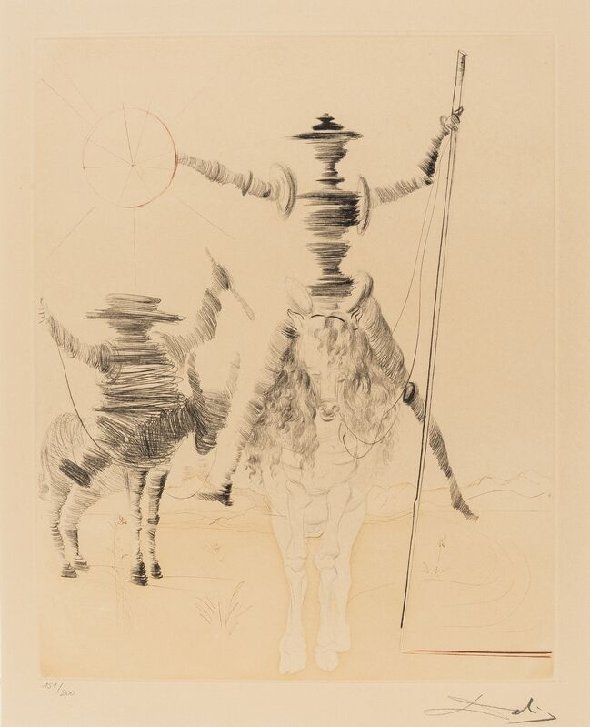 Salvador Dalí, 'Don Quichotte and Sancho Panza (Field 68-1)', 1968-80, Print, Etching with aquatint printed in colours, Forum Auctions