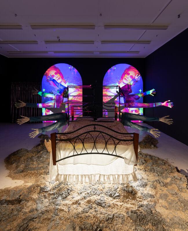 Kris Lemsalu, 'Going Going', 2020, Installation, Bed, ceramic, video, sound, Den Frie Centre of Contemporary Art