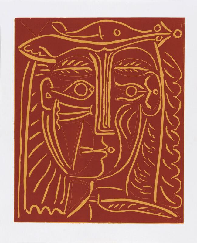 Pablo Picasso, ' Tête de Femme au Chapeau', 1962, Print, Linocut on Arches, Odon Wagner Gallery