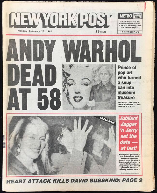 "Andy Warhol, '""Andy Warhol Dead at 58"" (Andy Warhol New York Post 1987) ', 1987, Ephemera or Merchandise, Newspaper, Lot 180"