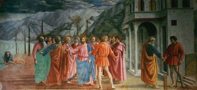 Masaccio, 'Jesus, Saint Peter and the tax collector (Matthew 17, 24-27) (Tribute Money)', 1426-1427