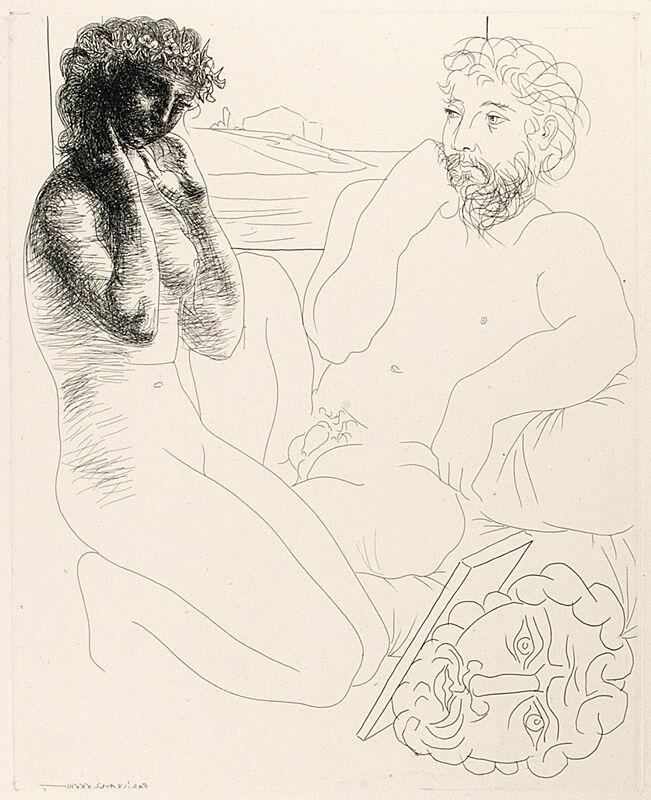 Pablo Picasso, 'SCULPTEUR ET MODÈLE AGENOUILLÉ (B. 178; G/B 331; S.V. 69)', 1933, Print, Etching on Montval laid paper, Marc Rosen Fine Art Ltd