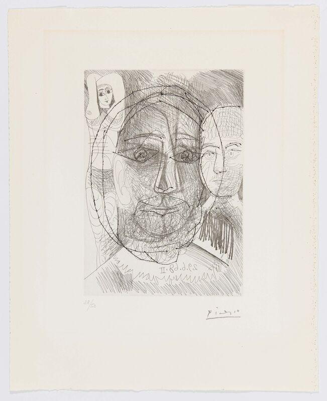 Pablo Picasso, 'Homme, Femme et Enfant. Étude pour le Portrait d'El Greco', 1968, Print, Drypoint etching on vellum, Van Ham