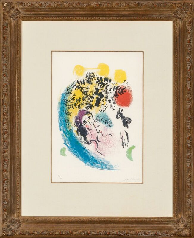 Marc Chagall, 'Les amoureux au soleil rouge', 1960, Print, Lithograph in colors on wove paper, Heritage Auctions