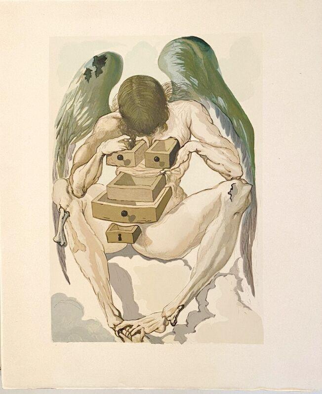 Salvador Dalí, 'La Divine Comédie - Purgatoire 01 - L'Ange déchu', 1963, Print, Original wood engraving on BFK Rives paper, Samhart Gallery