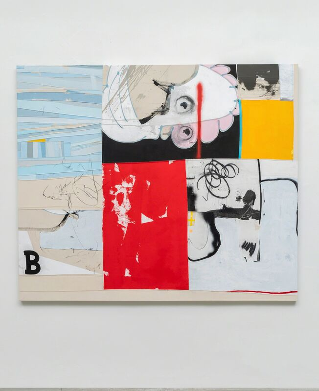 Taylor White (b. 1978), 'THAT'S BILLY!', 2018, Painting, Acrylic, charcoal, spray paint, pencil, fabric, and sewing on canvas, g.gallery