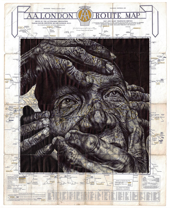 Mark Powell, 'Not All Roads Have Signposts', 2021, Drawing, Collage or other Work on Paper, Ballpoint pen drawing on a antique map of London, Hang-Up Gallery
