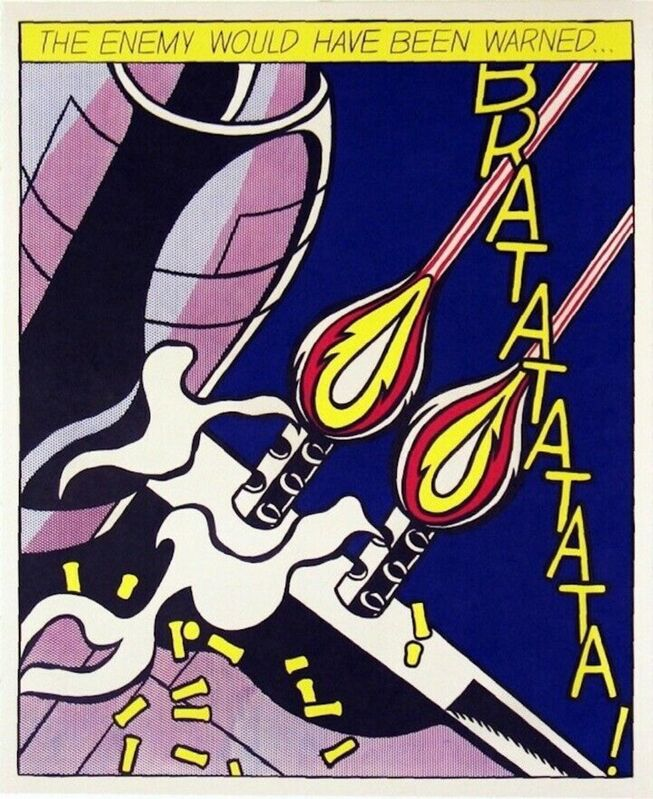 Roy Lichtenstein, 'As I Opened Fire', ca. 1997, Print, Offset Lithograph in colors on three sheets of wove paper, Art Commerce
