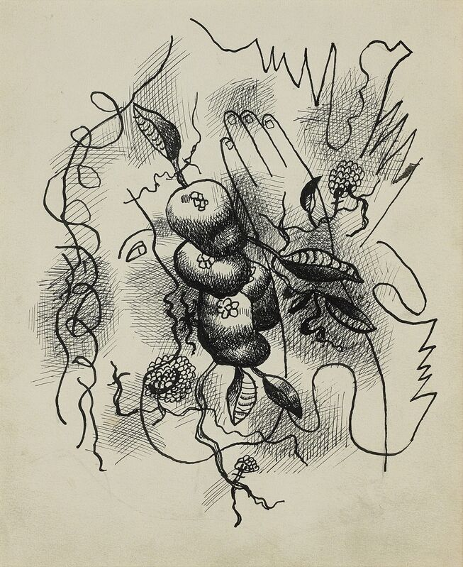 Fernand Léger, 'Composition au profil et à la main', ca. 1941, Drawing, Collage or other Work on Paper, Chinese ink on paper, BAILLY GALLERY