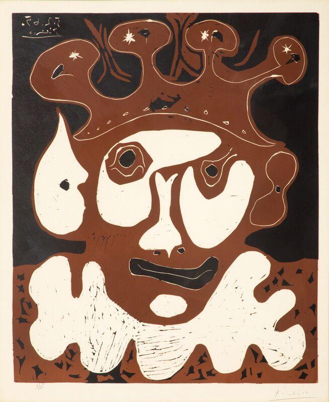 Pablo Picasso, 'Tête de Bouffon, Carnaval', 1965, Print, Color linocut print on Arches paper, Los Angeles Modern Auctions (LAMA)