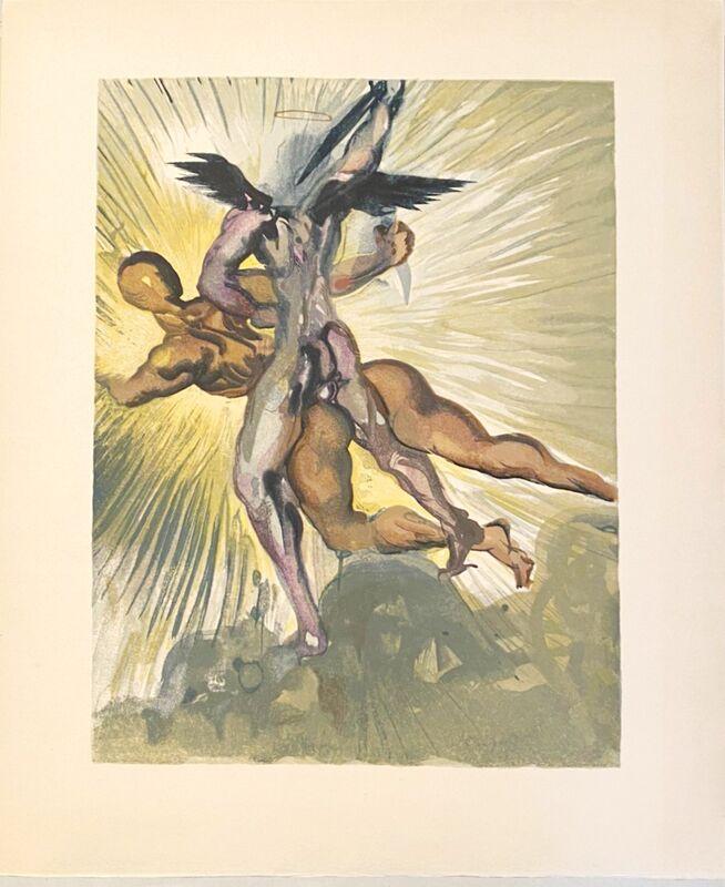 Salvador Dalí, 'La Divine Comédie - Purgatoire 08 - Les anges gardiens de la vallée', 1963, Print, Original wood engraving on BFK Rives paper, Samhart Gallery