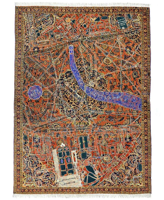 David Chalmers Alesworth, 'Hyde Park Kashan, 1862 ', 2011, Mixed Media, (After a Stanford map fragment of 1862) restored antique. Kashan carpet withdyed sheep's wool embroidery, GALLERYSKE