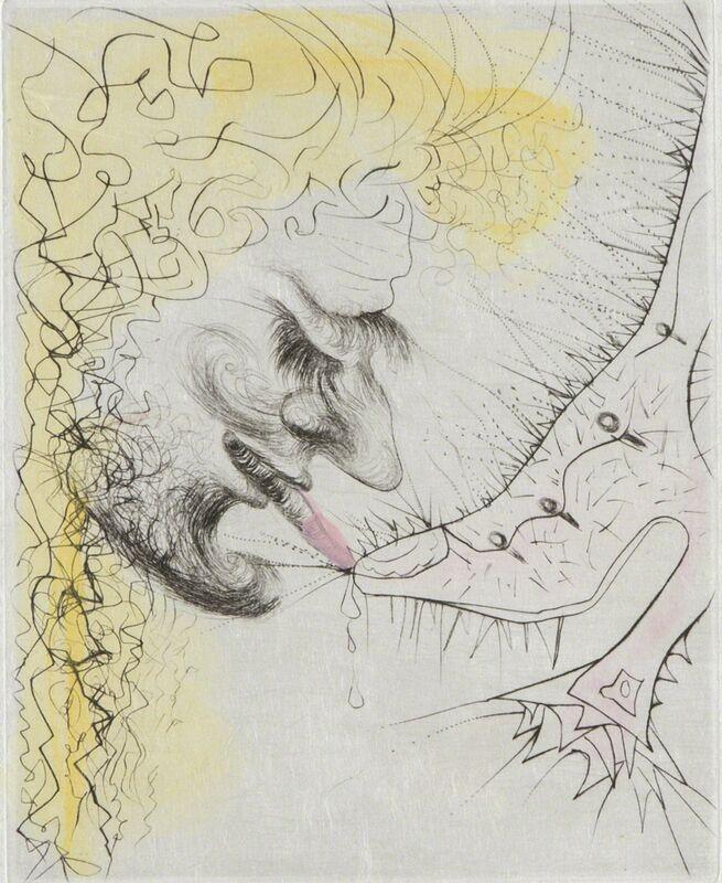 Salvador Dalí, 'Man Kissing Shoe Art Surrealist Hand Colored Engraving', 1969, Print, Print, Modern Artifact