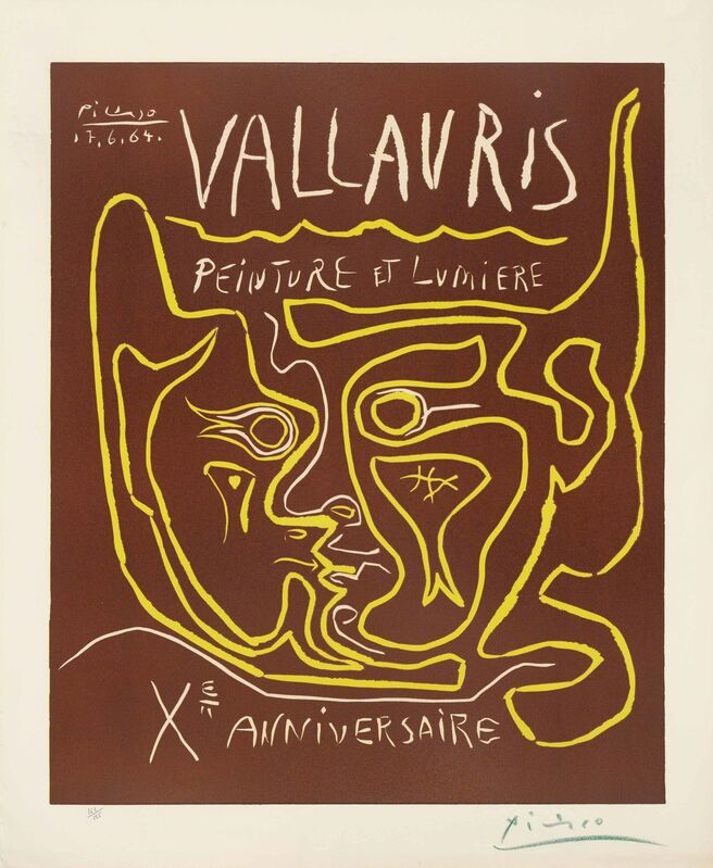 Pablo Picasso, 'Vallauris. Peinture et Lumière. Xe Anniversaire', 1964, Print, Linocut printed in brown and yellow on Arches wove paper, Christie's