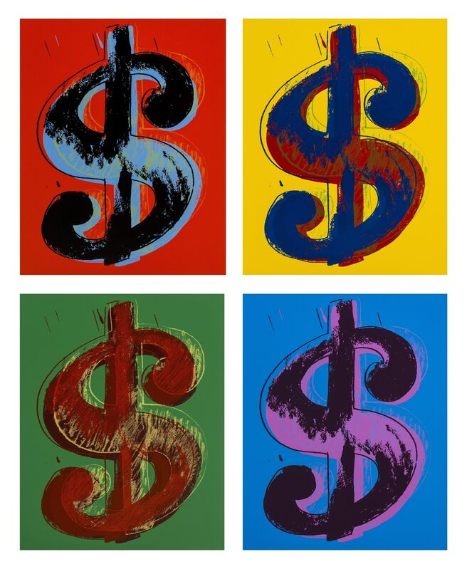Andy Warhol, 'Dollar Signs (Sunday B. Morning) (set of four)', 2013, Reproduction, The complete set of four screenprints in colours, Forum Auctions