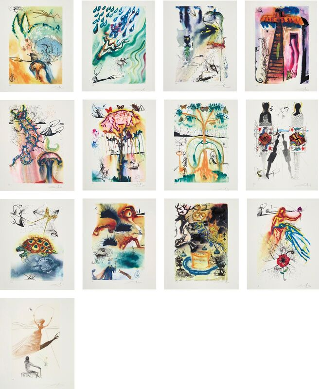 Salvador Dalí, 'Alice in Wonderland', 1969, Print, The complete set of 13 prints comprising one etching and 12 heliogravures with woodcut remarques, all in colours, on BFK Rives paper, with full margins., Phillips
