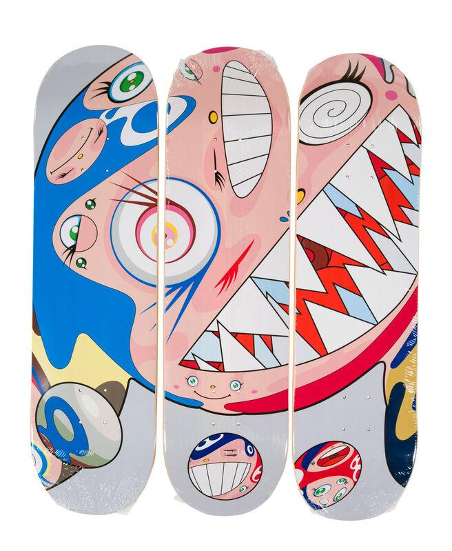 Takashi Murakami, 'Takashi Murakami DOB Skateboard Decks (Set of 3 Murakami skate decks)', 2018, Print, Set of 3 screen-printed maple wood skateboard decks, Lot 180
