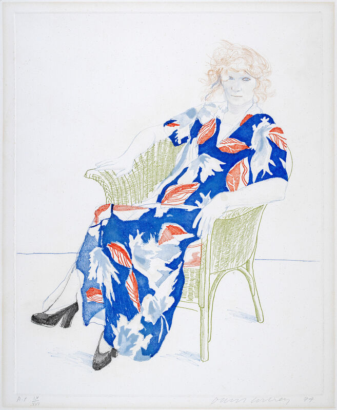 David Hockney, 'Celia in a Wicker Chair', 1974, Print, Soft-ground etching and aquatint printed in five colours on mould-made paper by Maurice Payne, London, Tanya Baxter Contemporary