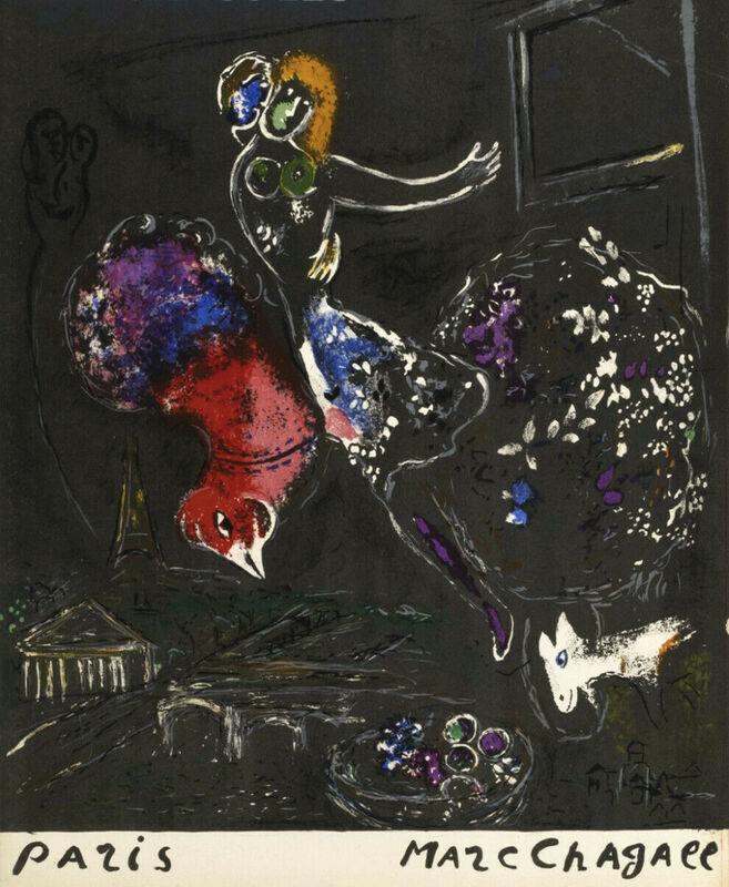 Marc Chagall, 'La nuit à Paris 1954', 1954, Print, Original Lithograph in Colors on Wove Paper, NCAG
