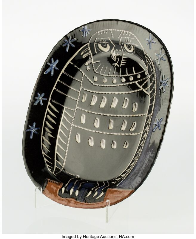 Pablo Picasso, 'Le hibou brillant', 1955, Other, White earthenware ceramic plate with handpainting and glazing, Heritage Auctions