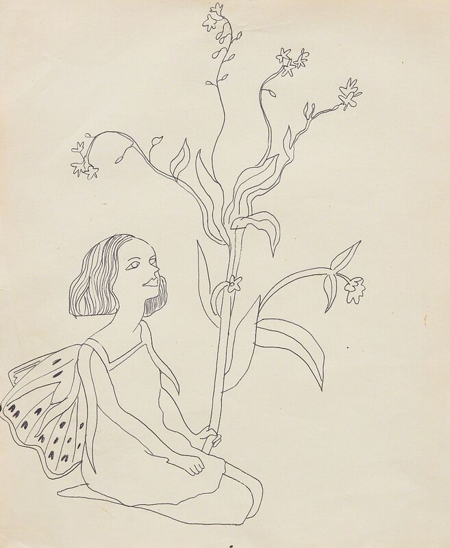 Andy Warhol, 'Child in Elf Costume', 1956, Drawing, Collage or other Work on Paper, Pen on manila paper, Phillips