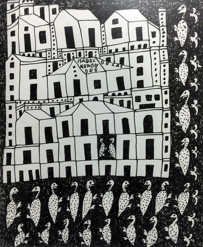 Isabel de la Mercedes, 'Nuevo Pueblo', ca. 1980, Drawing, Collage or other Work on Paper, Ink on paper, Pan American Art Projects