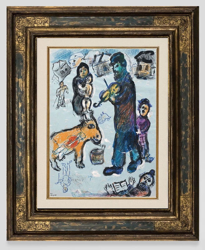 Marc Chagall, 'Violinist in the snowy village', 1977, Painting, Gouache, pastel, color crayons and China ink on paper, Opera Gallery
